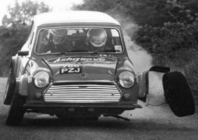 Heavy landing for this rally Mini
