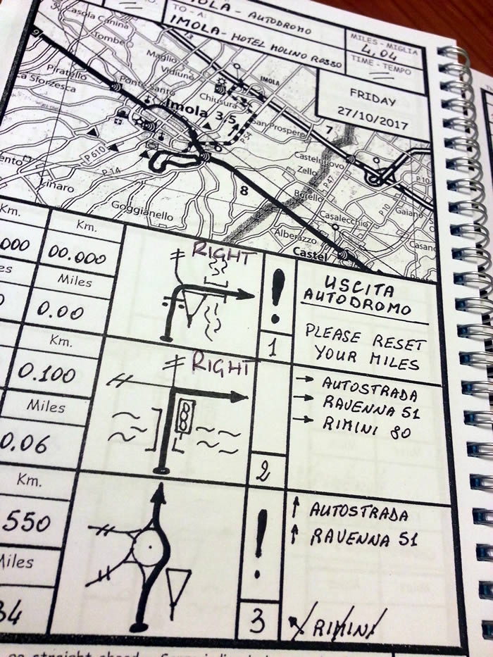 The beautiful Italian Job roadbook, with added LEFT and RIGHT notes, just in case