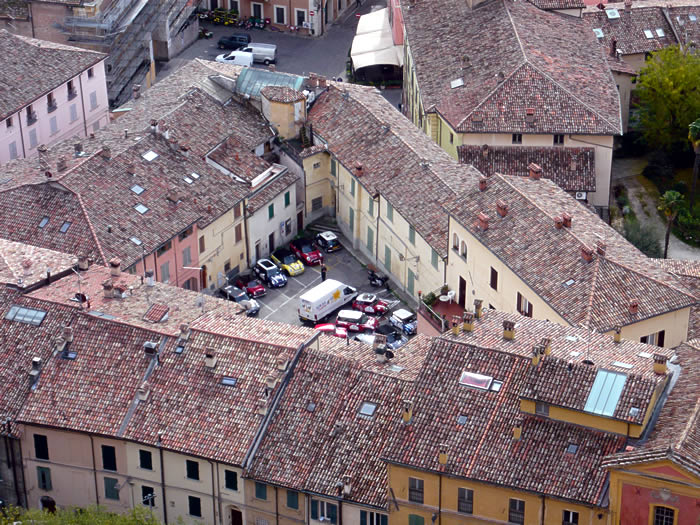 Parked Minis, and the service van, from Brisighella castle