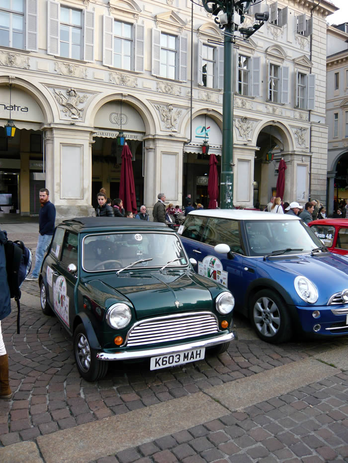 Parked in the Turin piazza, close to where the gold bullion was snatched in the film