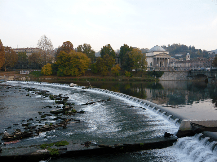 Weir over the River Po, part of the escape route for the three Minis in 1969