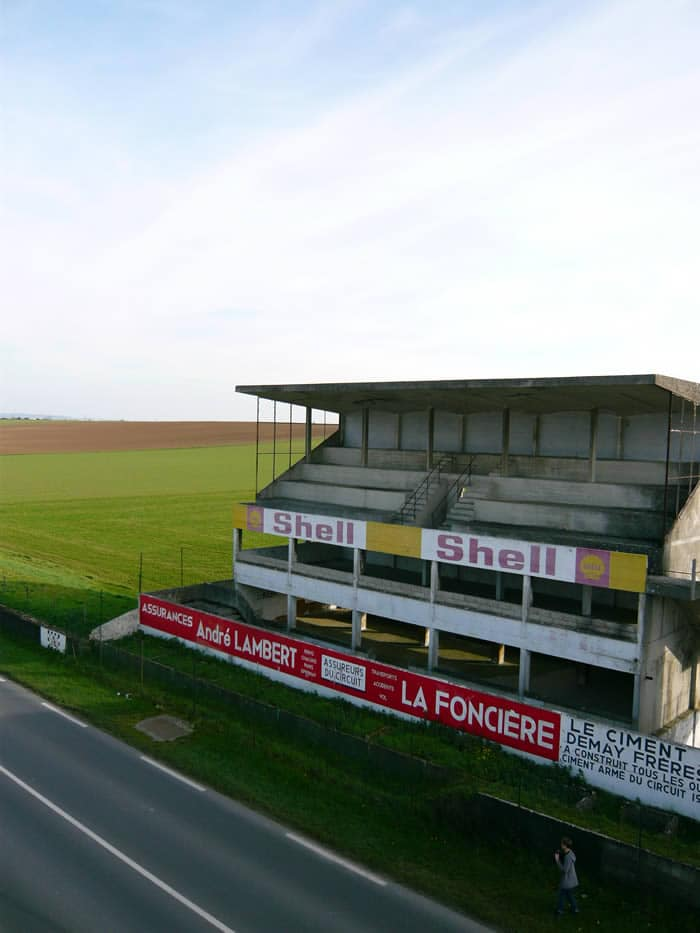 Grandstand on the abandoned Reims Gueux circuit